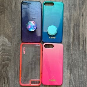4 iPhone 8 Plus phone cases with two pop sockets